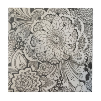 Black and White hand drawn floral Tile