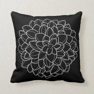 Black and White Hand Drawn Hydrangea Pillow