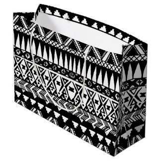 Black and White Hand Drawn Modern Tribal Aztec Large Gift Bag