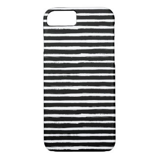 Black and white hand drawn watercolor stripes iPhone 8/7 case