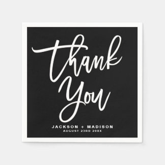 Black and White Hand Lettered Script Thank You Paper Napkin