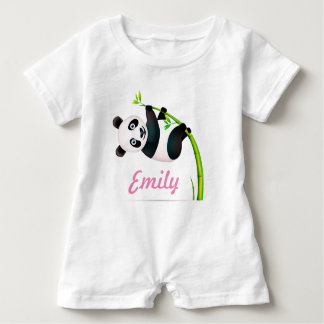 Black and White Hanging Panda Bamboo Branch Stalk Baby Romper