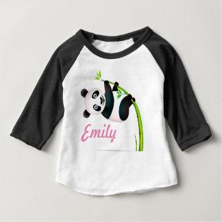 Black and White Hanging Panda Bamboo Branch Stalk Baby T-Shirt