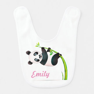 Black and White Hanging Panda Bamboo Branch Stalk Bib