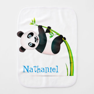 Black and White Hanging Panda Bamboo Branch Stalk Burp Cloth