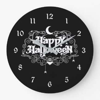Black And White Happy Halloween Large Clock