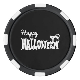 Black And White Happy Halloween Poker Chips