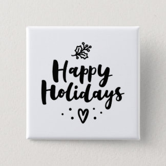 Black And White Happy Holidays 2 Inch Square Button