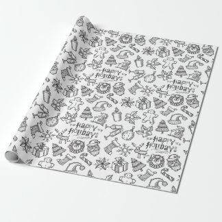 Black and White Happy Holidays Christmas Doodles Wrapping Paper