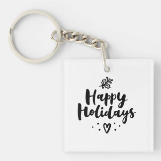 Black And White Happy Holidays Keychain