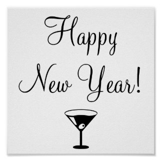 black and white Happy New Year poster with martini