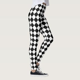 Black and White Harlequin Checks Pattern Leggings