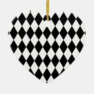 Black and White Harlequin Pattern Ceramic Ornament