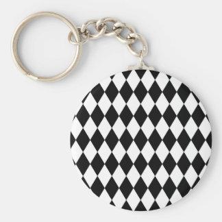 Black and White Harlequin Pattern Keychain