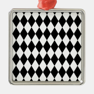 Black and White Harlequin Pattern Metal Ornament