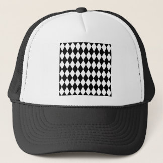 Black and White Harlequin Pattern Trucker Hat