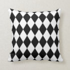 Black and White Harlequin Patterned Plush Pillow