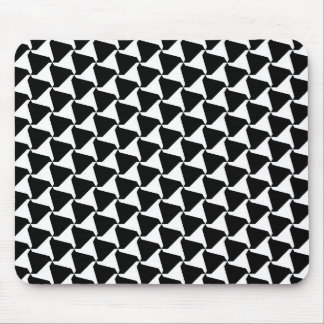 Black and White Harlequin Triad Motif Mouse Pad