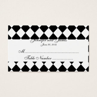 Black and White Harlequin Wedding Place Card