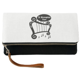 Black and White Harp Monogram Clutch
