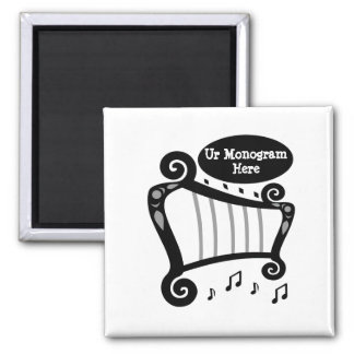 Black and White Harp Monogram Magnet