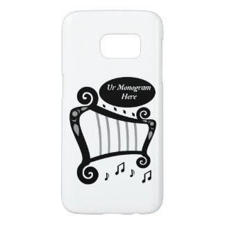 Black and White Harp Monogram Samsung Galaxy S7 Case