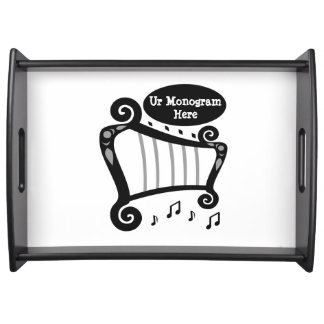 Black and White Harp Monogram Serving Tray