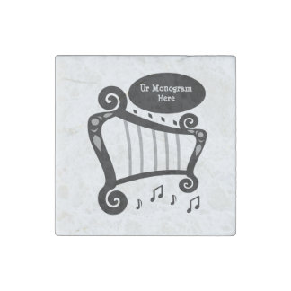 Black and White Harp Monogram Stone Magnets