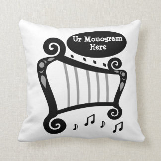 Black and White Harp Monogram Throw Pillow
