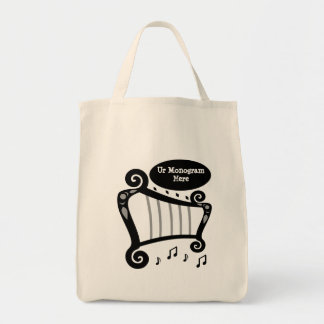 Black and White Harp Monogram Tote Bag