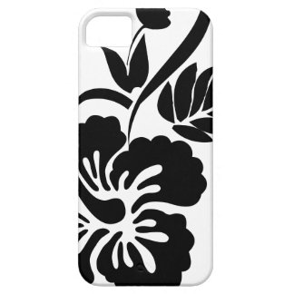 Black and white Hawaiian flowers iPhone 5 Case