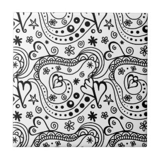 Black and White Heart Abstract Tile
