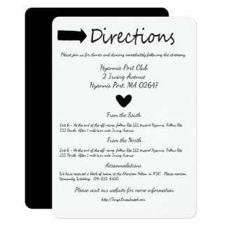 """Black And White Heart Directions Details Wedding 5"""" X 7"""" Invitation Card"""