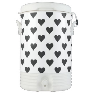 Black And White Heart Pattern Cooler