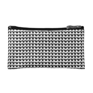 Black and White Heart Pattern Cosmetic Bag