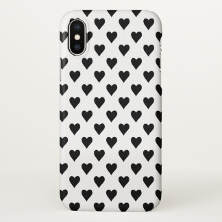 Black And White Heart Pattern iPhone X Case