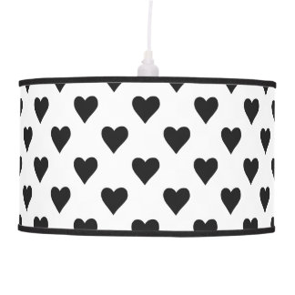 Black And White Heart Pattern Pendant Lamp