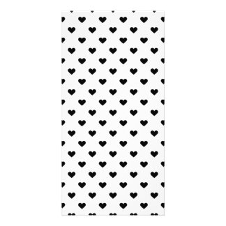Black and White Heart Pattern Photo Greeting Card