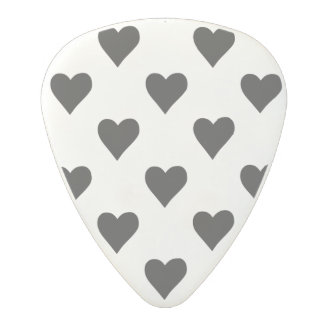 Black And White Heart Pattern Polycarbonate Guitar Pick