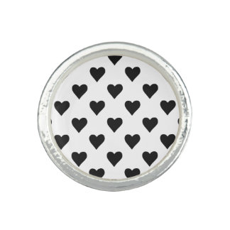 Black And White Heart Pattern Rings