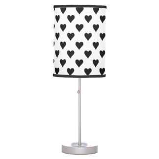 Black And White Heart Pattern Table Lamp