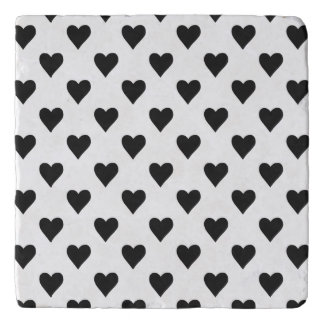 Black And White Heart Pattern Trivet
