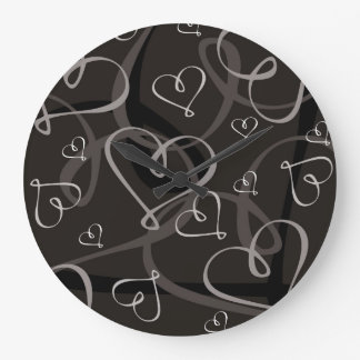 Black and white heart pattern wall clocks