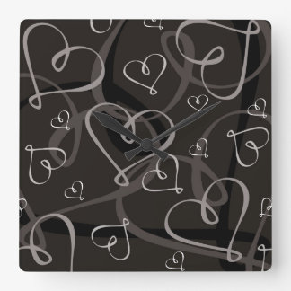 Black and white heart pattern wallclocks