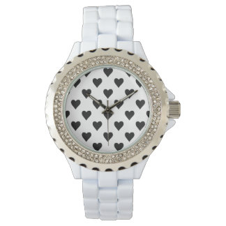 Black And White Heart Pattern Watch