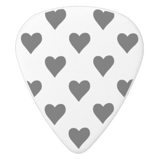Black And White Heart Pattern White Delrin Guitar Pick