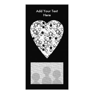 Black and White Heart. Patterned Heart Design. Photo Card Template