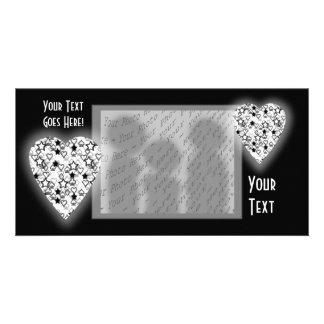 Black and White Heart. Patterned Heart Design. Personalized Photo Card