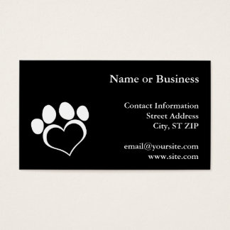 Black and White Heart Paw Business Card