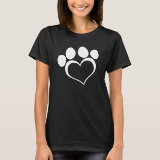 Black and White Heart Paw T-Shirt